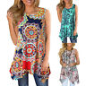 Women Casual Printed Sleeveless Shirt Asymmetrical Loose Tunic Blouse Tops Vest