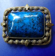 vintage art deco ornate brass flower blue black glass brooch c pin -C343