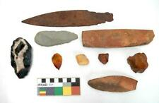 Collection of 9 Old Kimberley Aboriginal Stone Artefacts Axe, Metal Spear Point