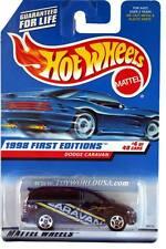 1998 Hot Wheels #633 First Edition #4 Dodge Caravan 5 spk (blue car card)