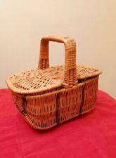 Vintage Wicker sewing basket with lids & handle