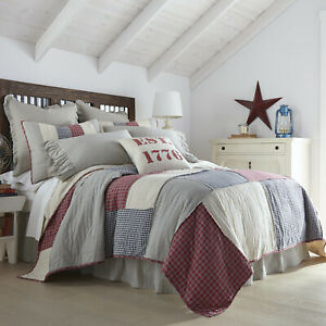 VHC Brands Americana King Patch Quilt Red Patchwork Hatteras Flax Bedroom Decor
