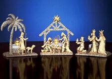 Nativity Scene Tealight Candle Holders Gold Glitter Metal Sculpture Set of 3