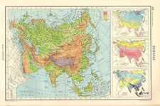 1952 MAP ~ EURASIA ~ PHYSICAL HEIGHTS OF LAND ~ TEPERATURE & ANNAL RAINFALL