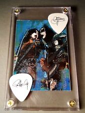 LOOK - Great Looking Gene Simmons & Paul Stanley tour guitar pick / card display
