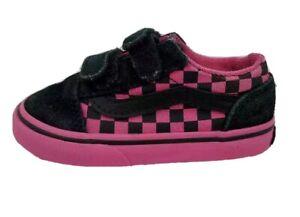 VANS Baby Girls Sneakers Pink Check Hook & Loop Fasteners Shoes 7