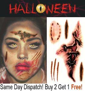 Halloween Zombie Scars Tattoos Fake Gash Bite Scar Wound Costume Make-Up Kit UK