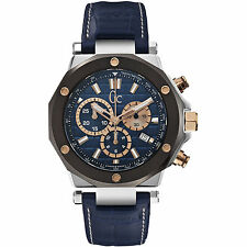 Guess Collection Gc-3 Men's Chronograph Blue Calfskin Quartz Watch X72025G7S