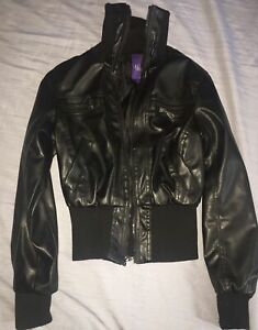 Miley Cyrus Max Azria Black Bomber Motorcycle Jacket Faux Leather Size M