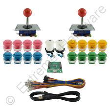 2 Player Arcade Control Kit 2 Ball Top Joysticks 18 Buttons Xin-Mo Mixed Colours