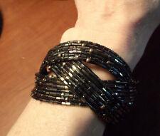 INFINITY Bangle Cuff Bracelet Brown Beaded bronze Braided adjustable Boho Indie