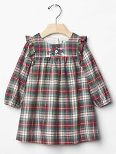 GAP Baby Girls Size 6-12 Months Red / Green Plaid / Floral Party Holiday Dress