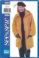 Butterick See & Sew 5804 Zip-Up Jacket w Drawstring Sz 6-10 UNCUT Pattern EASY