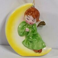 Vintage Made in Japan Christmas Ornament Porcelain Angel Moon Holiday Decoration