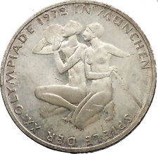 1972 Germany Munich Summer Olympics XX ATHLETES on 10 Mark Silver Coin i52432