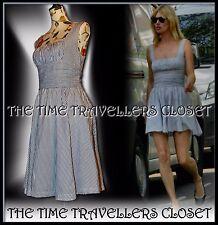 Kate Moss Topshop Blue White Striped Corset Vintage 50s Midi Sun dress UK 12 14