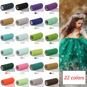 Glitter Sequin Tulle Organza Sheer Mesh Fabric Sewing DIY Crafts Accessory