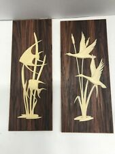 Vintage Wall Plaque Wood Grain Panel Plastic Birds Fish West Germany Set Of 2