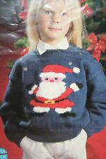 Childs Christmas Jumper with Santa Motif Knitting Pattern (CK008)