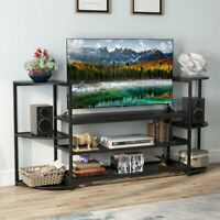 """50"""" TV Media Stand Large Media Console Table with Mesh Shelves and Bookshelves"""