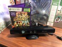 Microsoft XBOX 360 Kinect Sensor Model 1414 Black W/ Kinect Adventures - Tested