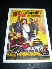 55 DAYS AT PEKING, film card (Charlton Heston, Ava Gardner, David Niven)