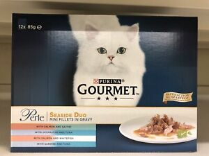 Gourmet Perle Seaside Duo Cat Food Pouches - 12 x 85g Mini Fillets In Gravy New