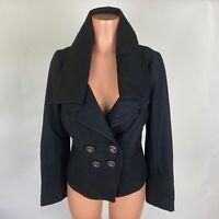 Millard Fillmore Womens Coat Jacket Black Wool Blend Double Breasted Size L
