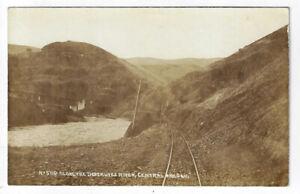 Along Deschutes River Central Oregon Railroad Tracks Bridge RPPC Patton Postcard
