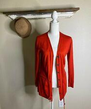 Lafayette 148 Sweater Cardigan Women SP Red Open Front Tie Waist Cotton Cashmere