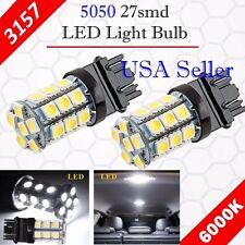 2X 3157 3156 Xenon 6000K White 27-SMD Chip LED DRL Daytime Running Light Bulbs