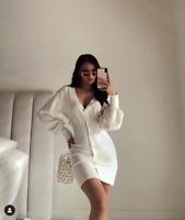SABO SKIRT Kaia Dress Soft Cotton White Knit Dress Waist RRP $85 SOLD OUT Sz XS