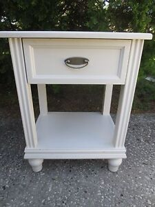Tall Cottage Nightstand Bed Table Coastal Shabby Chic Modern White Distressed