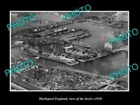 OLD LARGE HISTORIC PHOTO OF HARTLEPOOL ENGLAND, AERIAL VIEW OF THE DOCKS c1930