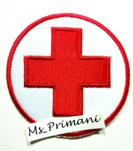 Embroidered  RED CROSS HUMANITARIAN MEDICAL HELP Iron/Sew On Patch Costume badge