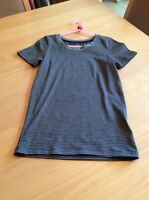 girls clothes 7-8 years M&S Black Grey Fine Striped Stretch Cotton Mix Top
