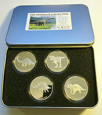 "2014 Set of  4 x 1 OZ ""The Dinosaur Collection"" in Collectors Tin. LTD 250 Gift"