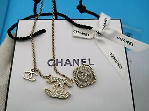 CHANEL Novelty Necklace Pendant Rhinestone Coco CC Mark Logo Chain Pin badge
