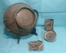 Primitive Tin Kitchen Strainer Colander Metal w/ HANDLES cookie cutter tin lot 3