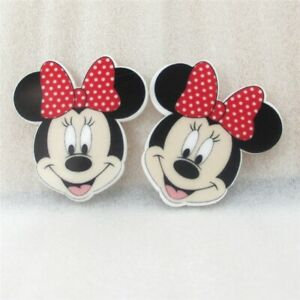 5 x 42mm MINNIE MOUSE RED + WHITE BOW LASER CUT FLAT BACK RESIN HEADBANDS BOWS