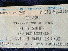 Billy Squier.Def Leppard 1983 Concert Ticket Stub.The Omni.Atlanta.Rare