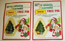 2 Vintage Light Up Christmas Tree Pins Brooches New In Orig Pkgs Hong Kong Nos