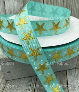 Printed Grosgrain Ribbon 7/8 Width in 1/3/5 Yard Shining Gold Foil Starfish Aqua