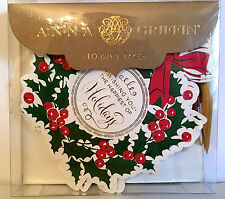 Anna Griffin Holly & Berry Wreath Gift Tags. Happiest of Holidays. Box 10. Beau