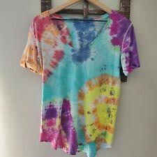LULULEMON Love II Tee Rainbow Tie Dye V Neck TShirt 6 or 8? Workout Cuff Sleeve