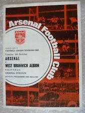 1969-70 Arsenal v West Bromwich Albion, 7th Oct with Voucher