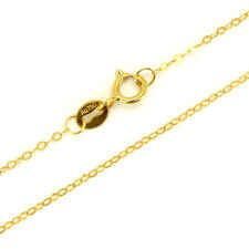 "Pure 18K Yellow Gold Necklace Solid AU750 Rolo Chain 1 mm 15.7"" 40CM 750C001-16"