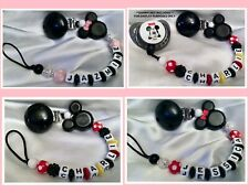 ❤ MINNIE/MICKEY SPARKLE POLKA DOT ❤ Personalised Dummy Clip ❤ MAX 7 LETTERS ❤
