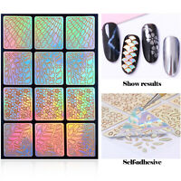 24 Sheets Mix Style Nail Art Hollow Laser Sticker Guide Template Stencil Set