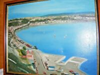 VINTAGE OIL PAINTING ON CANVAS OF HARBOUR SEASCAPE  BY B EVANS CONTINENTAL VIEW